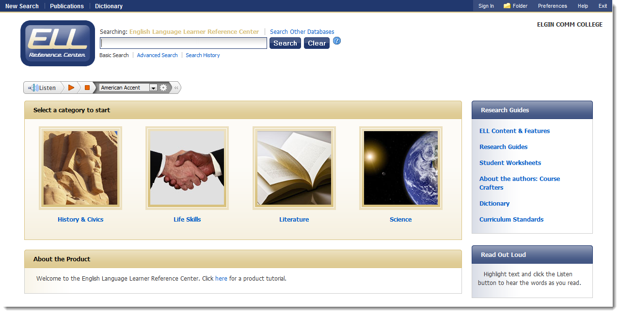 English Language Learners Database via EBSCO