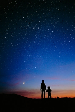 Starry sky and stargazers