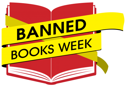Red book with yellow tape across it reading Banned Books Week